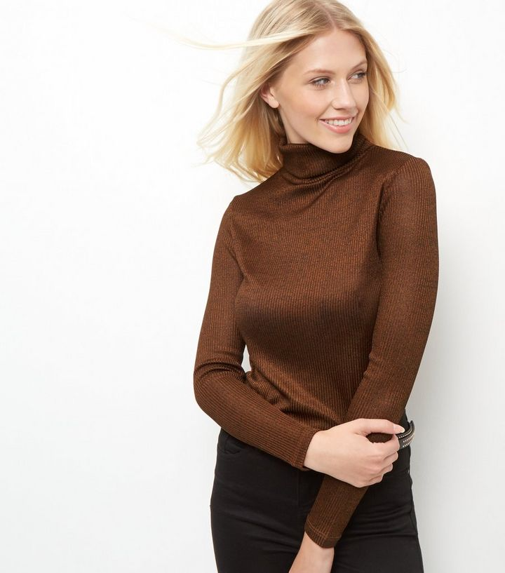 68574ed2a4888a Brown Fine Knit Ribbed Turtle Neck Jumper | New Look