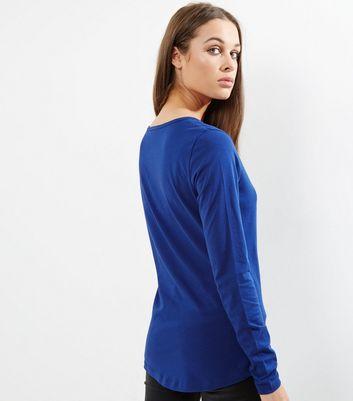 Tall Blue Long Sleeve Crew Neck T-Shirt New Look