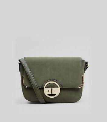 Khaki Suedette Twist Lock Shoulder Bag New Look
