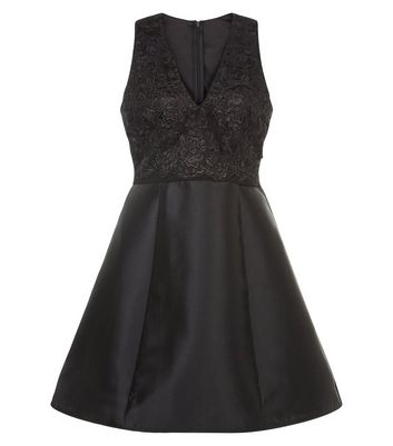 AX Paris Black Lace Panel Skater Dress New Look