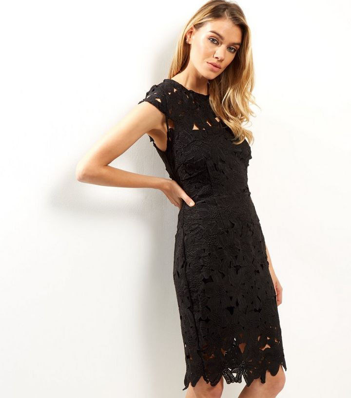 46fb4b25fb6 AX Paris Black Crochet Lace Cap Sleeve Midi Dress