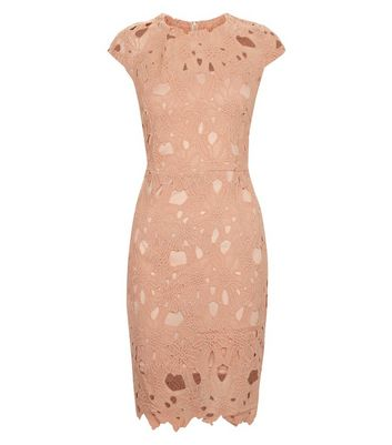 AX Paris Shell Pink Crochet Lace Cap Sleeve Midi Dress New Look