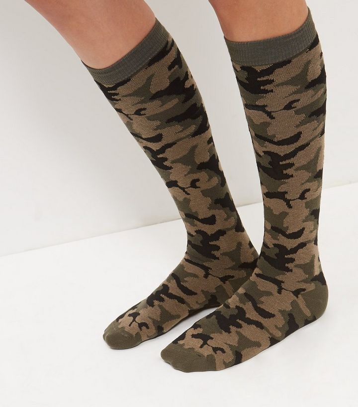7606b96b589 Khaki Camo Print Knee High Socks