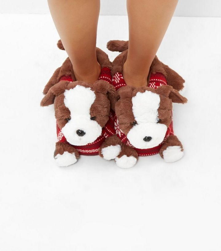 f35fc00ca46d Brown Christmas Dog Slippers