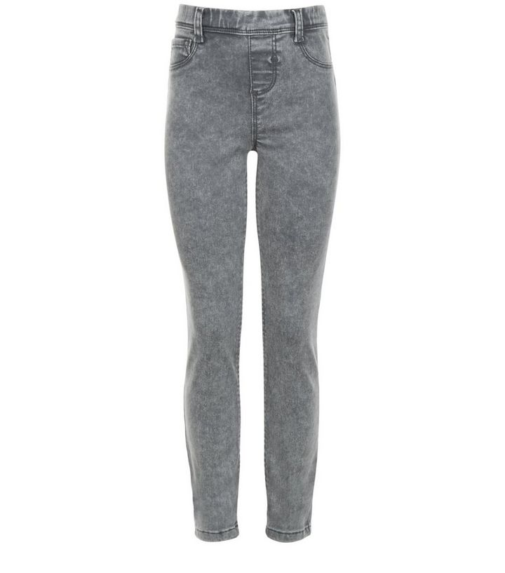 5f76f72dab489 Girls Grey Acid Wash Jeggings