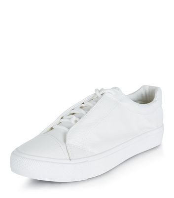 White Leather-Look Lace Up Plimsolls