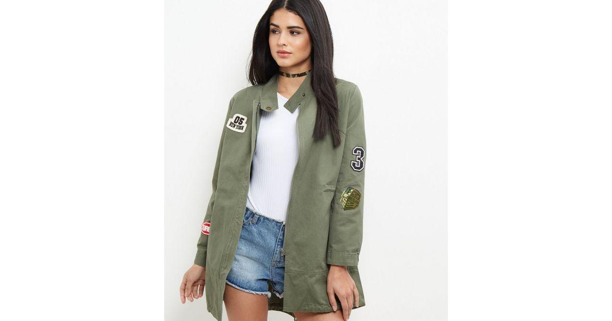 Khaki Badge Embroidered Utility Parka Jacket   New Look