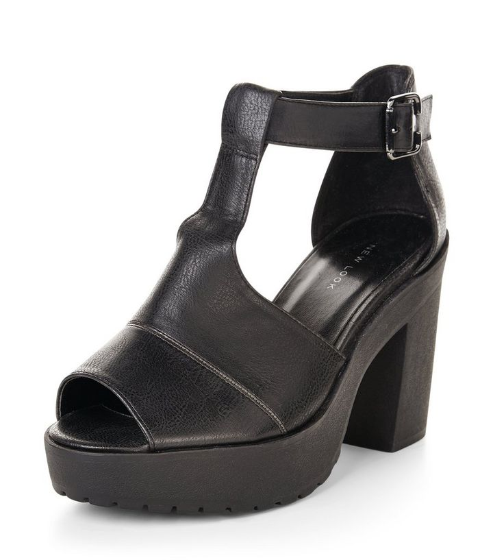 95a3b034842 Black Cut Out Chunky Block Heels Add to Saved Items Remove from Saved Items