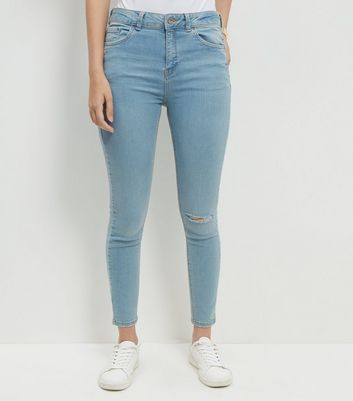 Blue Ripped Knee Ankle Grazer Skinny Jeans Add to Saved Items Remove from Saved Items