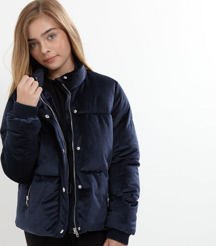 1831c013c Teens Navy Velvet Puffer Jacket Add to Saved Items Remove from Saved Items