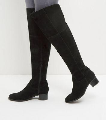 Black Suede Block Heel Knee High Boots