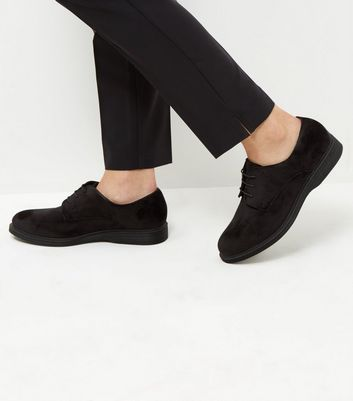 Wide Fit Black Velvet Chunky Brogues
