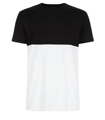 Black Colour Block T-Shirt New Look
