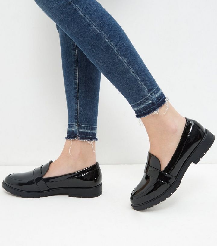 3b3c2f53622 Wide Fit Black Patent Chunky Loafers