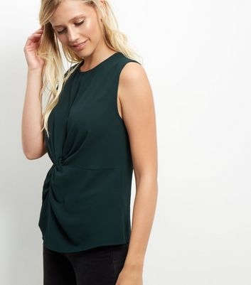 Dark Green Twist Front Sleeveless Top New Look