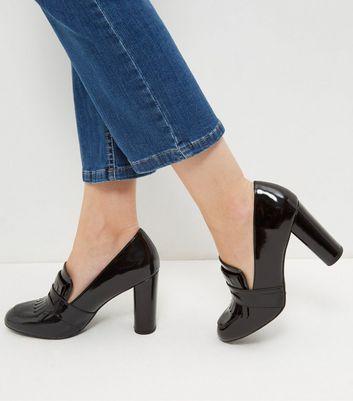 Black Patent Block Heel Loafers   New Look