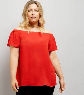 Curves Red Bardot Neck Top New Look
