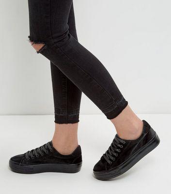 Black Velvet Flatform Plimsolls   New Look