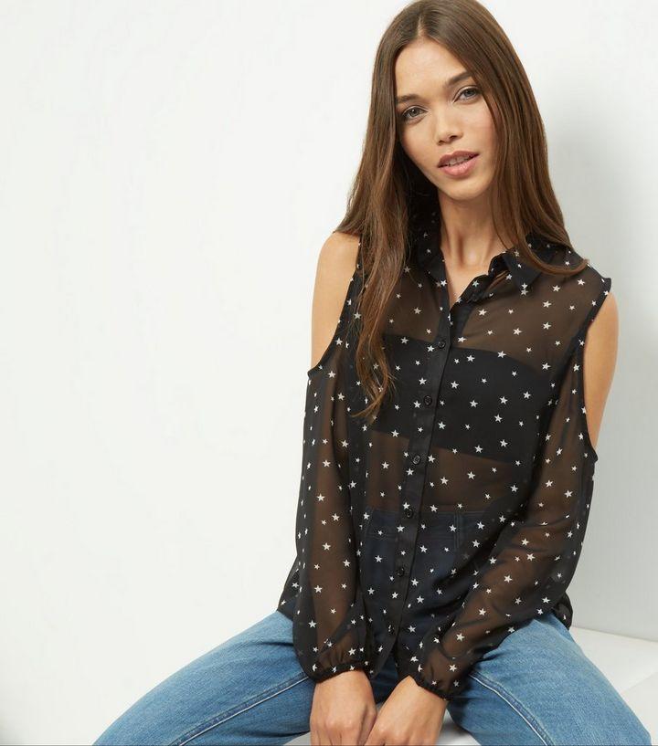 252d4ce4e885e Black Star Print Cold Shoulder Shirt