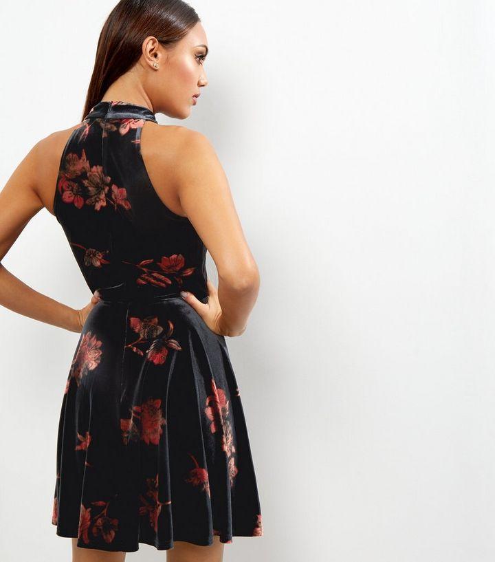 cc4666e2ce ... Black Velvet Floral Print Choker Neck Skater Dress. ×. ×. ×. Shop the  look