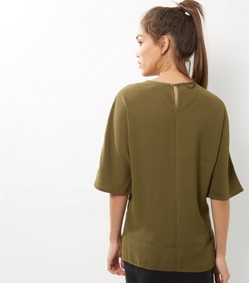 Tall Olive Sateen Single Pocket Front T-Shirt New Look