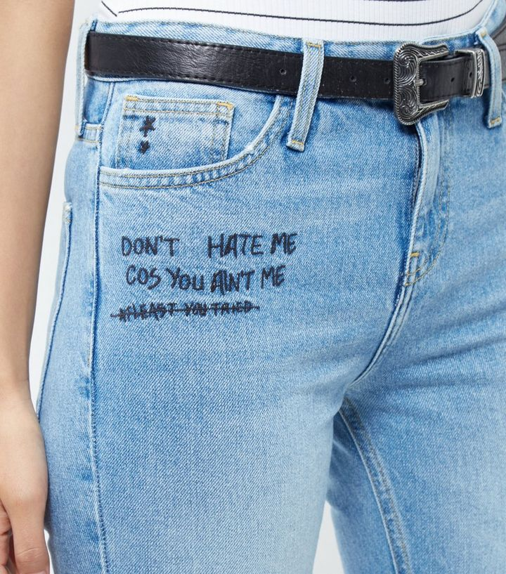 cfe0e9a378e Blue Embroidered Slogan Ripped Knee Straight Leg Jeans | New Look