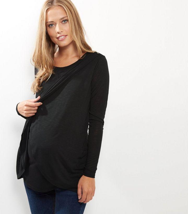 b13db1e0e0d Maternity Black Wrap Long Sleeve Nursing T-Shirt | New Look