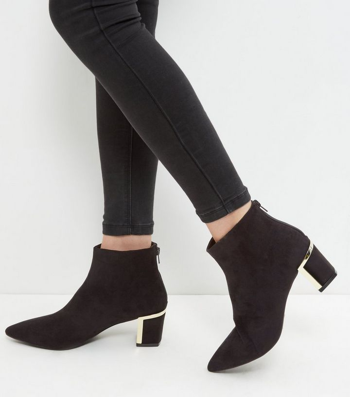 e80622e635b Black Metal Trim Suedette Block Heel Ankle Boots Add to Saved Items Remove  from Saved Items