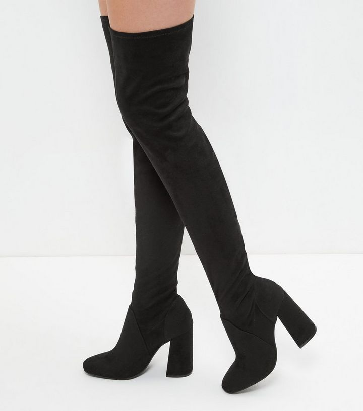 260cc734a75d Black Suedette Flared Heel Over The Knee Boots