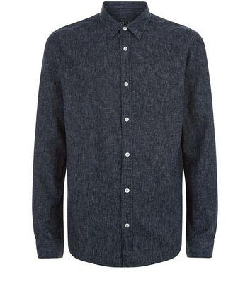 Navy Brushed Linen Blend Single Pocket Long Sleeve Shirt New Look