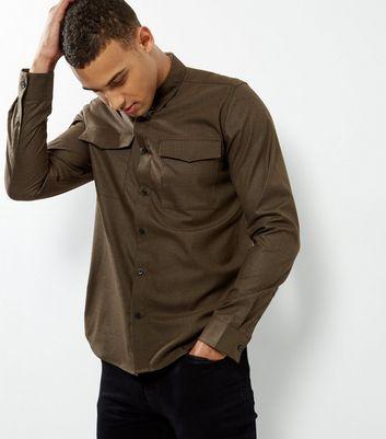 Khaki Double Pocket Long Sleeve Shirt New Look