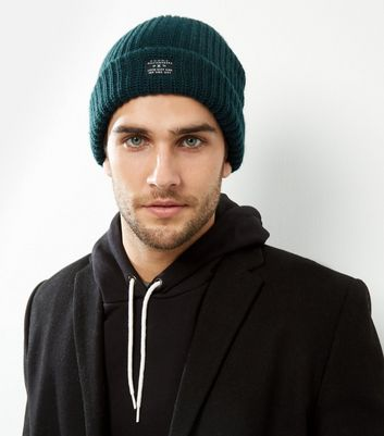 Dark Green Ribbed Beanie Hat New Look