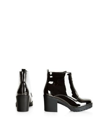 Black Patent Front Zip Chunky Ankle
