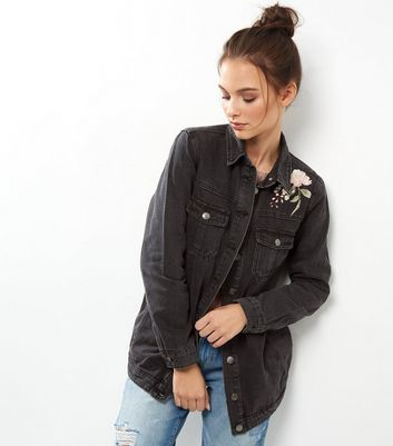 Black Foral Embroidered Shacket New Look
