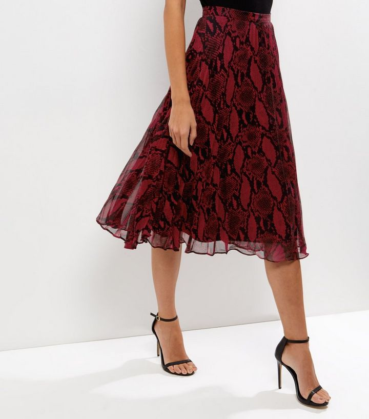 b3495169 Red Snakeskin Print Layered Pleated Midi Skirt | New Look