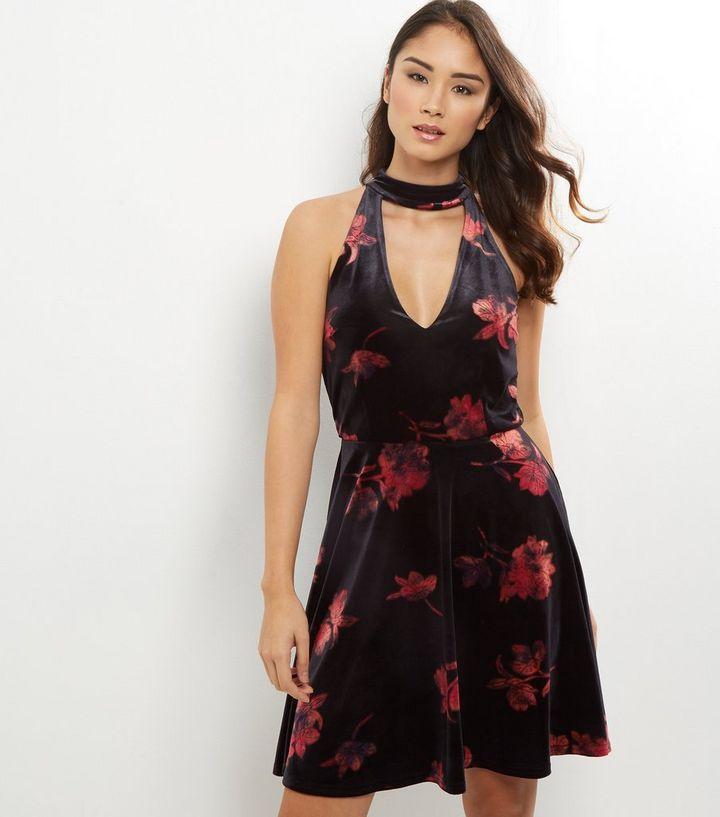 c7db9d18f6 Tall Black Floral Print Velvet Skater Dress