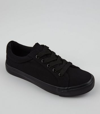 Teens Black Canvas Lace Up School Plimsolls New Look