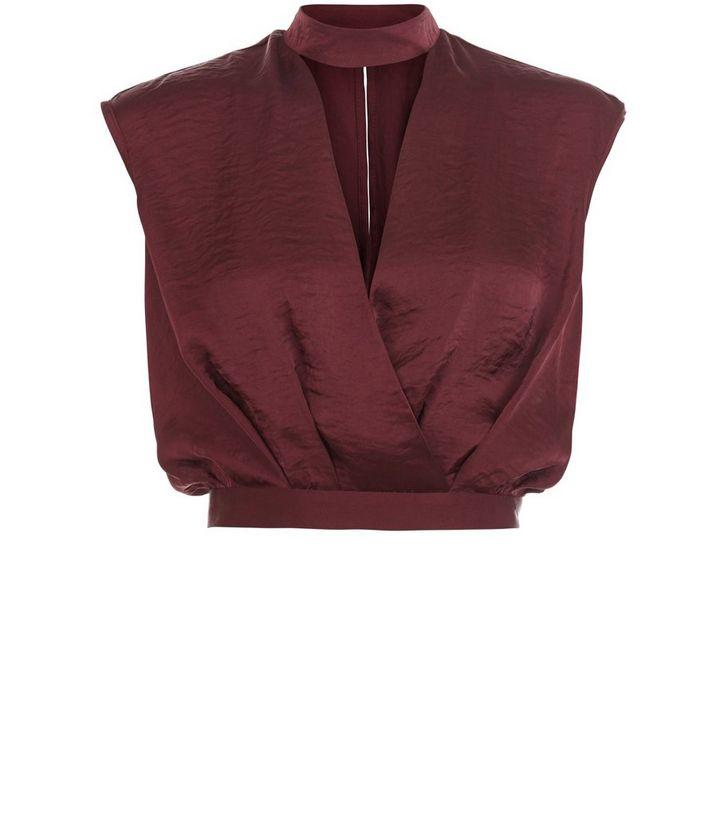 bdb9ece12ae3cb Dark Red Sateen Wrap Front Choker Neck Crop Top