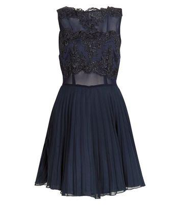AX Paris Navy Lace Crochet Skater Dress New Look