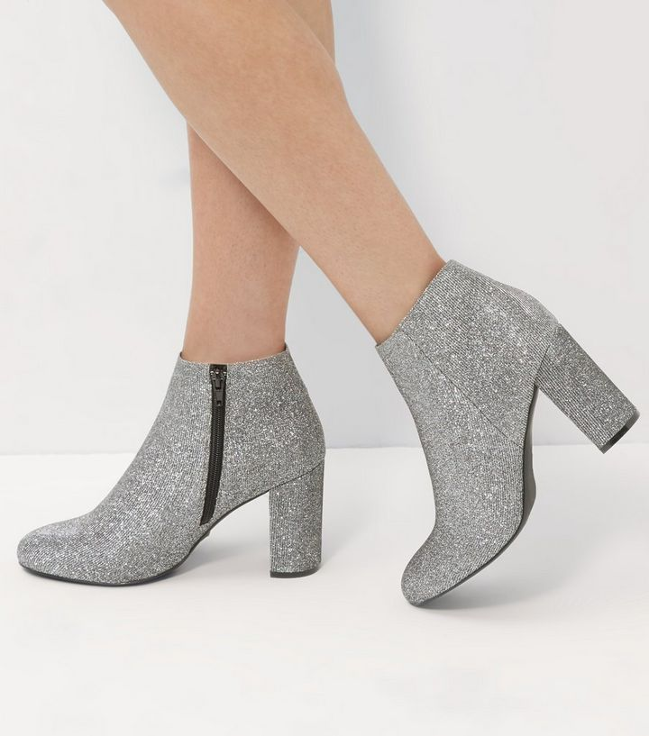 de0e644d140 Wide Fit Silver Glitter Block Heel Ankle Boots Add to Saved Items Remove  from Saved Items