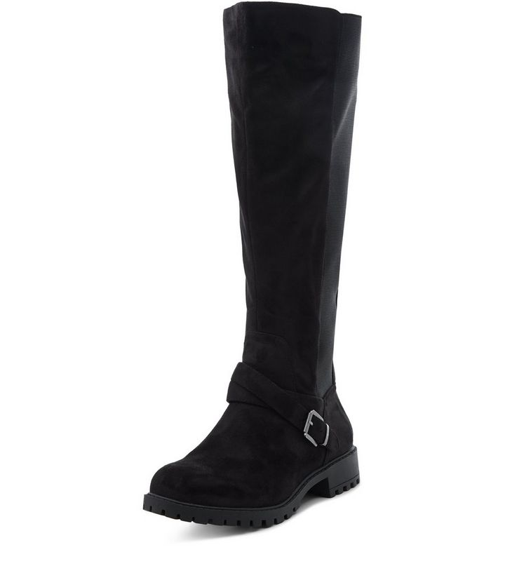 ea6df4c4023 Wide Fit Black Suedette Extra Calf Fit Knee High Boots Add to Saved Items  Remove from Saved Items