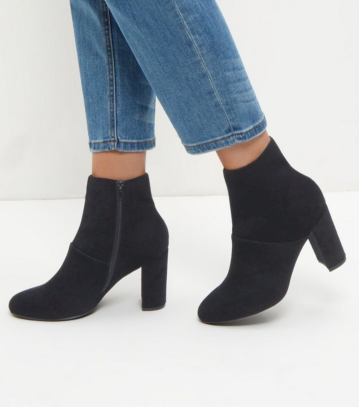 a7815e7ad29 Wide Fit Black Velvet Block Heel Ankle Boots Add to Saved Items Remove from  Saved Items