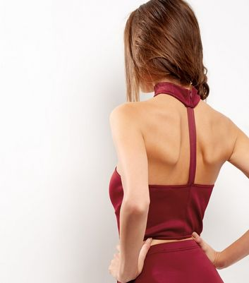 Burgundy Scuba Choker Bandeau Crop Top New Look