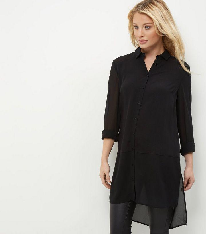 9978fcf0 Black Sheer Longline Shirt   New Look