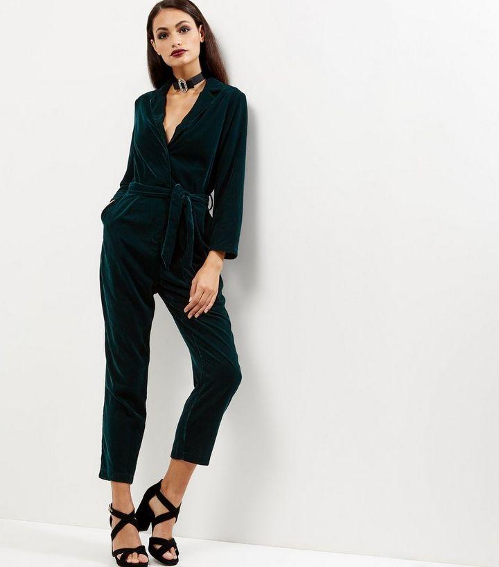 535786c616 Dark Green Velvet Wrap Front Long Sleeve Jumpsuit