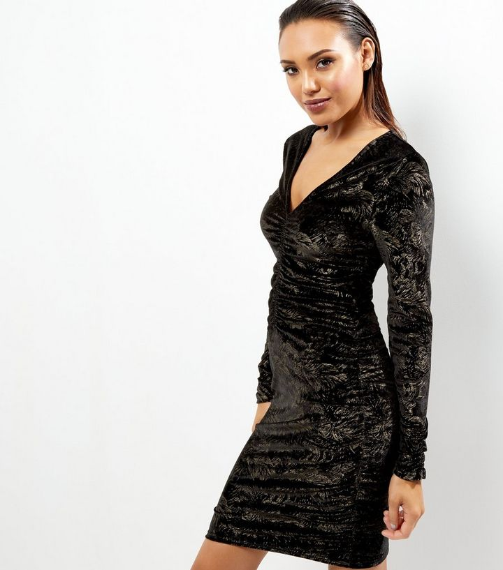 50b0426370 Black Velvet Gold Foil Ruched Front Bodycon Dress | New Look