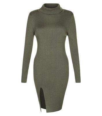 Petite Olive Green Ribbed Funnel Neck Side Split Dress New Look