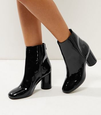 Wide Fit Black Patent Cylindrical Heel