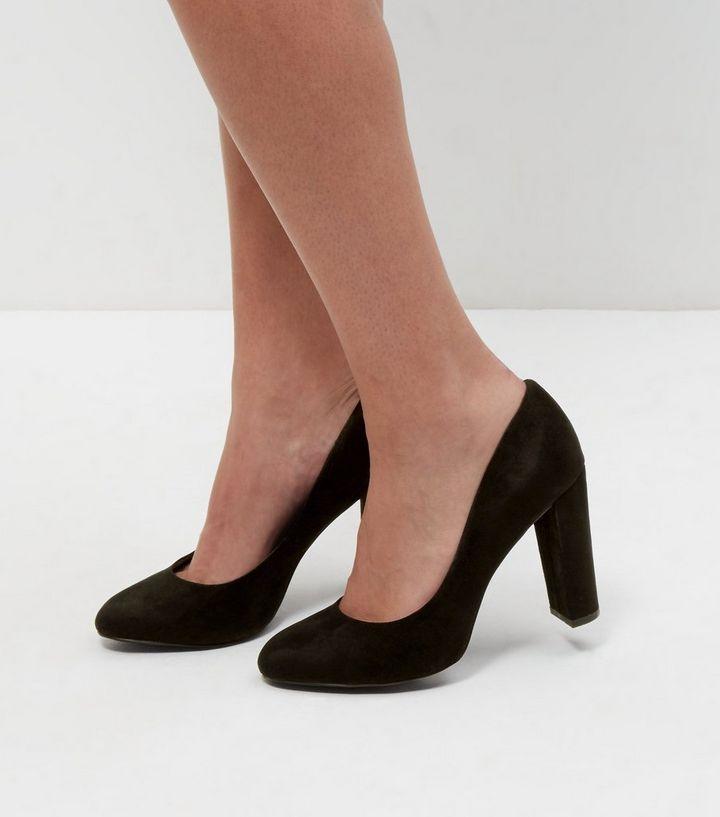 04fe1f6929c Wide Fit Black Suedette Block Heel Courts