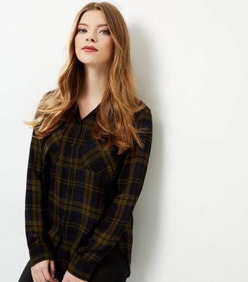 Green Check Long Sleeve Shirt New Look